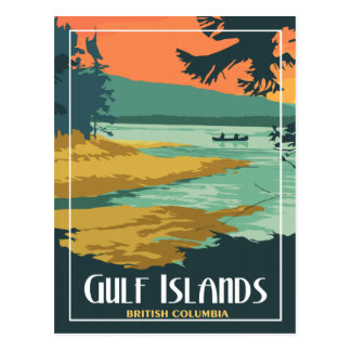 Gulf Islands BC - Vintage Travel Postcard
