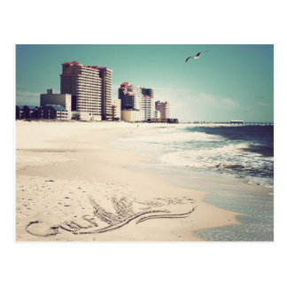 Gulf Shores, Alabama Sandwriting Beach Waves Words Postcard
