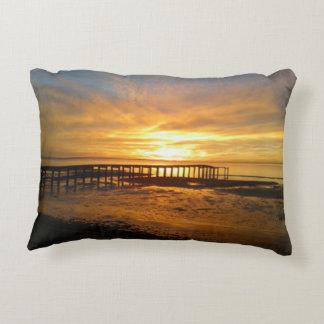 Gulf Sunrise Pier View Pillow