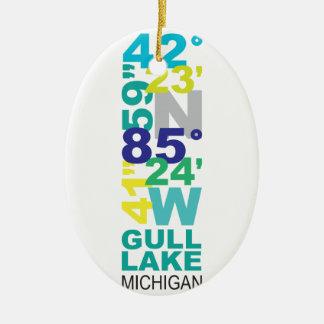 Gull Lake, MI Coordinates - Water Ceramic Ornament