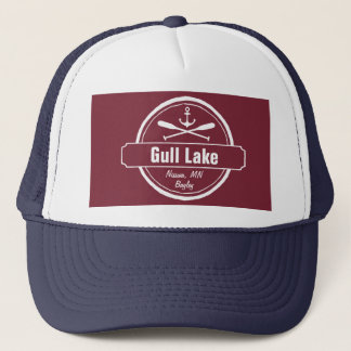 Gull Lake Minnesota anchor, paddles town and name Trucker Hat