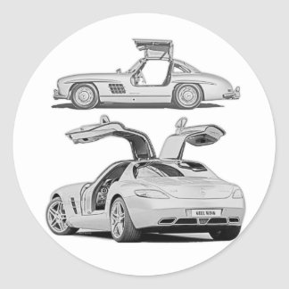 Gull Wing Then and Now Classic Round Sticker