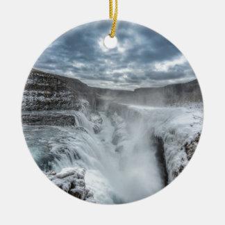 Gullfoss Waterfall, Iceland Ceramic Ornament