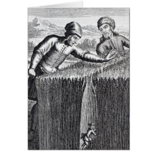 Gulliver is discovered by a farmer in card