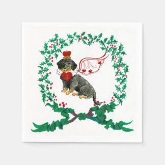 Gulliver's Wirehaired Dachshund Christmas Napkin Paper Napkins