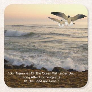 GULLS & OCEAN QOUTE SQUARE PAPER COASTER