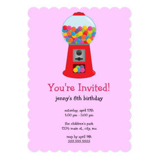 Gumball Machine Birthday Party Invitations