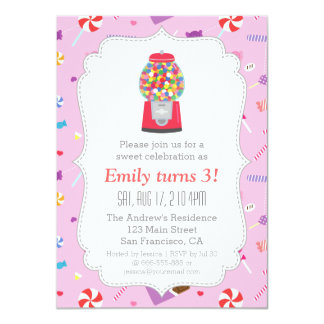 Gumball Machine Sweet Candy Birthday Party Card