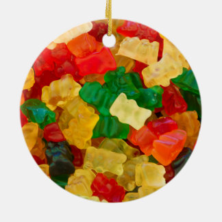 Gummy Bear Rainbow Colored Candy Round Ceramic Ornament