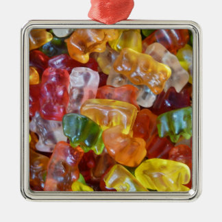 Gummy Bears Background Square Metal Christmas Ornament