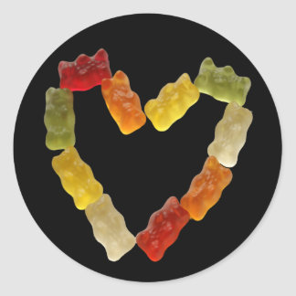 gummy heart classic round sticker