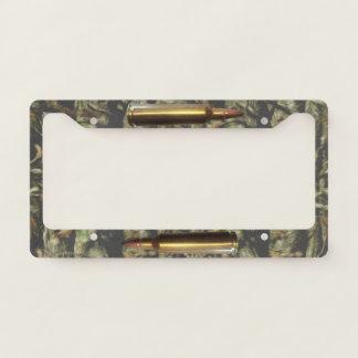Gun Ammo Bullet Camo Pattern Holder License Plate Frame