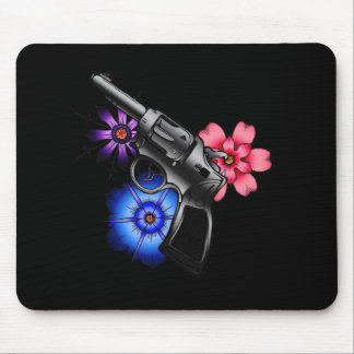 gun and flowers mouse pad