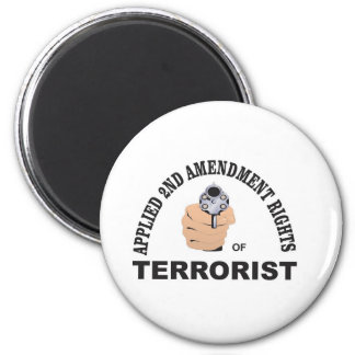 gun and terrorist in the usa 2 inch round magnet