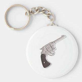 gun basic round button keychain