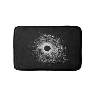 Gun Bullet Broken Glass Modern Black Bath Mat