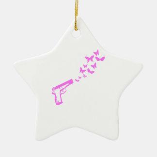 Gun Butterflies Pink Ceramic Ornament