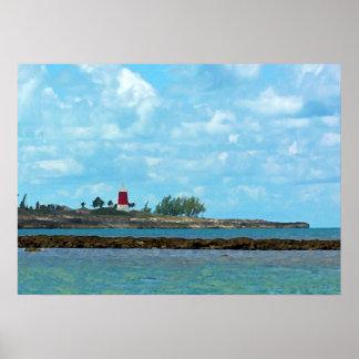 Gun Cay Bahamas Lighthouse Poster Print