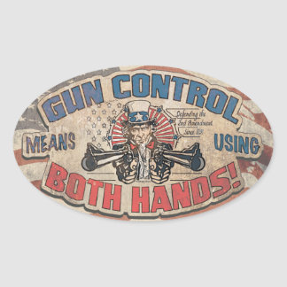 Gun Control Means Two Hands Retro Oval Sticker