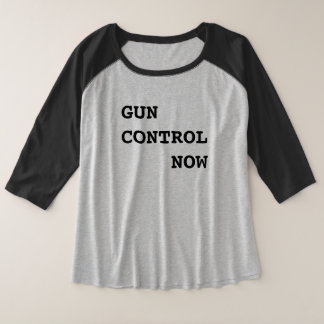 Gun Control Now, bold black text, Protest Plus Size Raglan T-Shirt