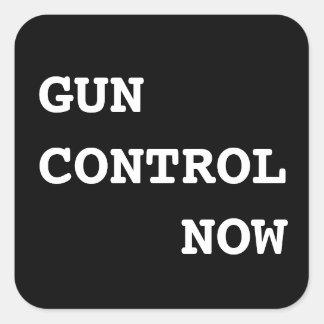 Gun Control Now, bold white text on black Square Sticker