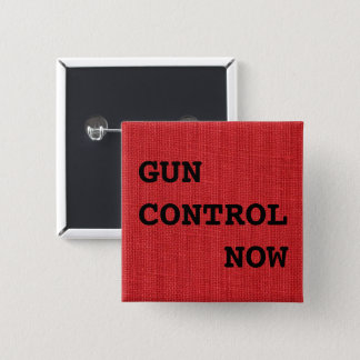 Gun Control Now on Red Linen Photo, Protest 2 Inch Square Button