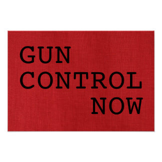 Gun Control Now on Red Linen Photo Protest Sign