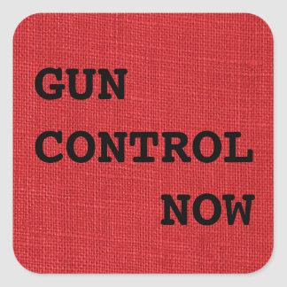 Gun Control Now on Red Linen Photo Square Sticker