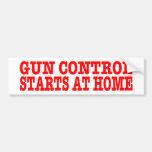 GUN CONTROL STARTS AT HOME, bumper sticker,red