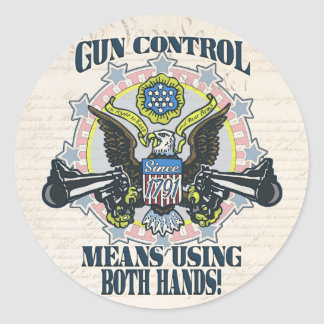 Gun Control: Using Both Hands Gun-Toting Eagle Classic Round Sticker
