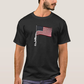 Gun Flag Black T-Shirt