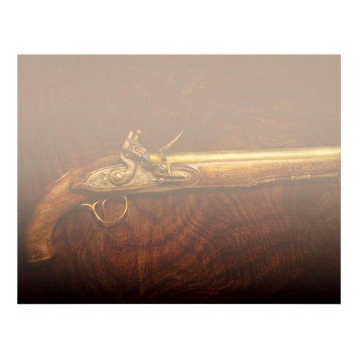 Gun - Flintlock Pistol Letterhead Template