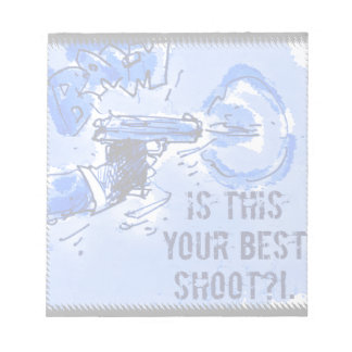 gun illustration with text notepad