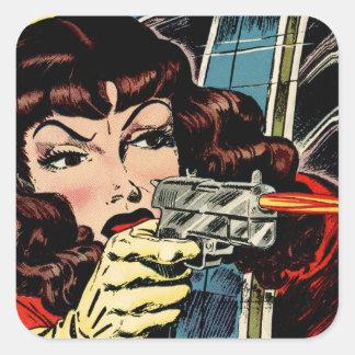 Gun Moll Square Sticker