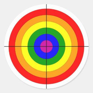 gun shooting range bulls eye target symbol gay classic round sticker