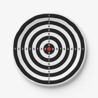 gun shooting range bulls eye target symbol paper plate