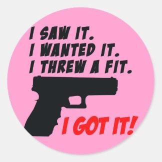 Gun Temper Tantrum Round Sticker