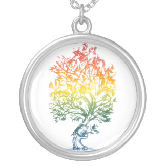Gun-Tree-Image Silver Plated Necklace
