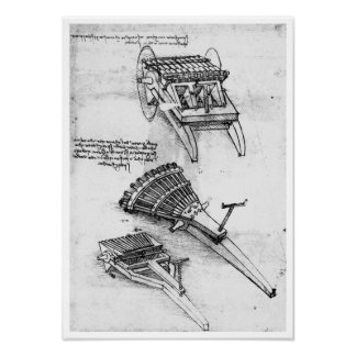 Gun with Array of Barrels, Leonardo da Vinci Poster