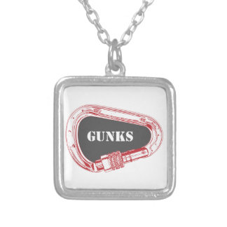 Gunks Climbing Carabiner Silver Plated Necklace