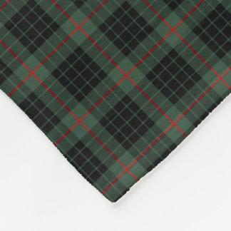 Gunn Clan Dark Green and Black Tartan Fleece Blanket
