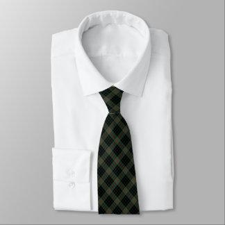 Gunn Clan Tartan Dark Green and Black Plaid Tie