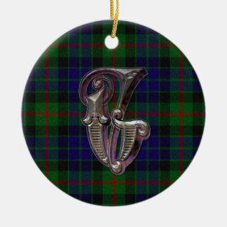 Gunn Plaid Monogram ornament