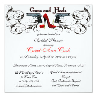 Guns and Heels Custom Bridal Shower Invitation