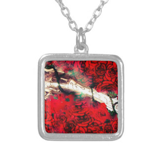 Guns and roses silver plated necklace