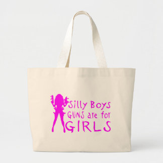 GUNS ARE FOR GIRLS JUMBO TOTE BAG