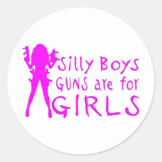 GUNS ARE FOR GIRLS ROUND STICKER