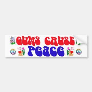 guns cause peace raw car bumper sticker