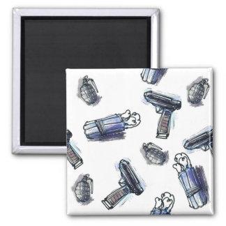 guns grenades and dynamites tiled pattern cartoon magnet