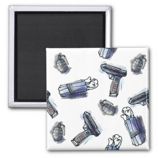 guns grenades and dynamites tiled pattern cartoon square magnet